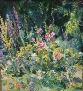 Луговые цветы, освещённые солнцем  к.м. 55х60