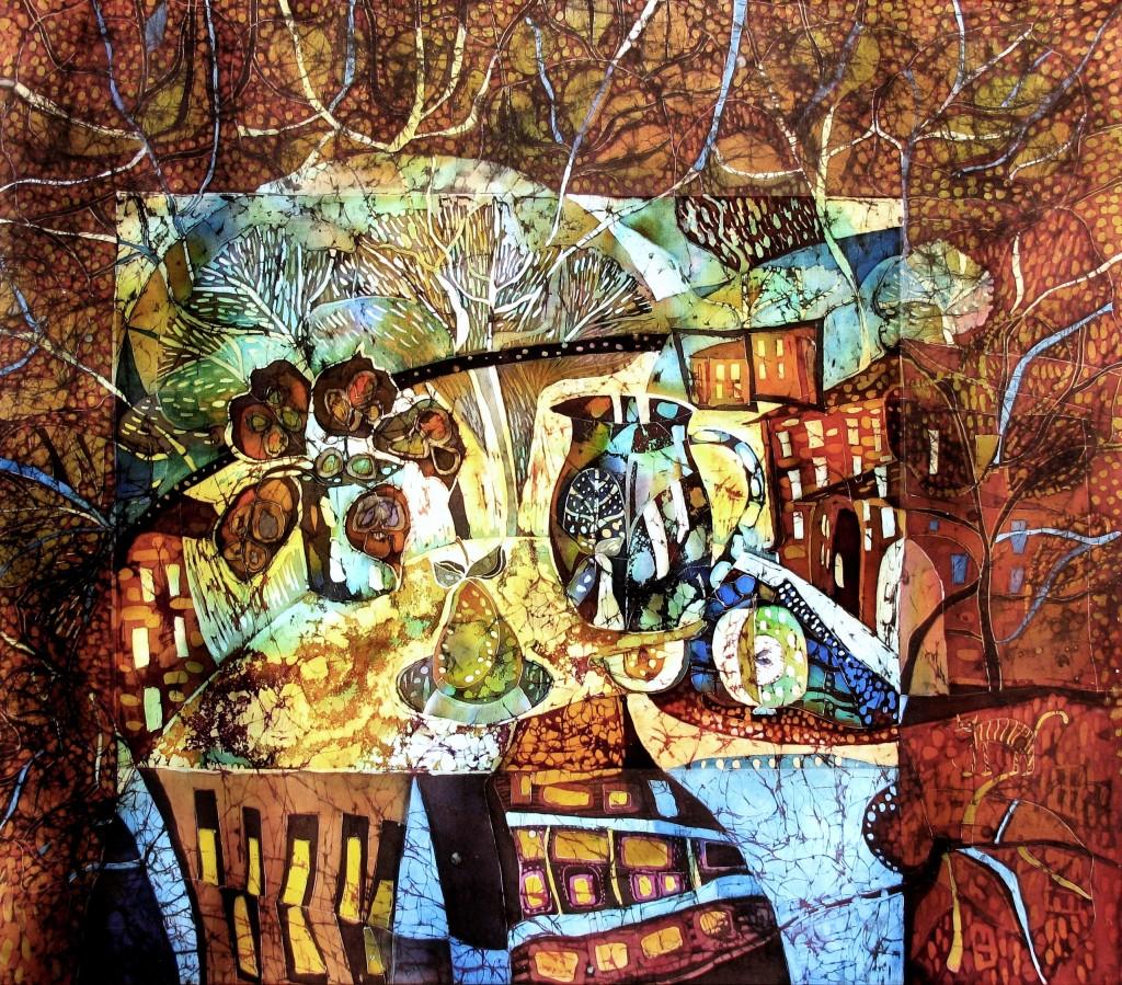 Кочеткова О.В. 1965г Натюрморт с пейзажем за окном. натур. шелк, гор. батик 2011 г 95,5-110см. г. Саратов