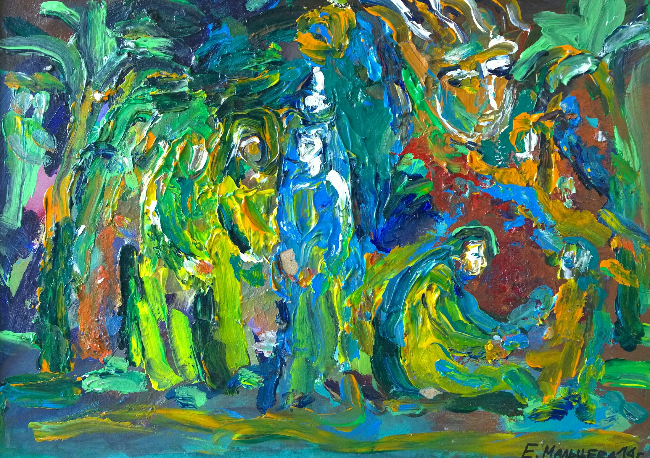 Мальцева Елена. Дева Мария, Иосиф и маленький Христос в Египте. к., акр. 29,5х39,5. 2014г.