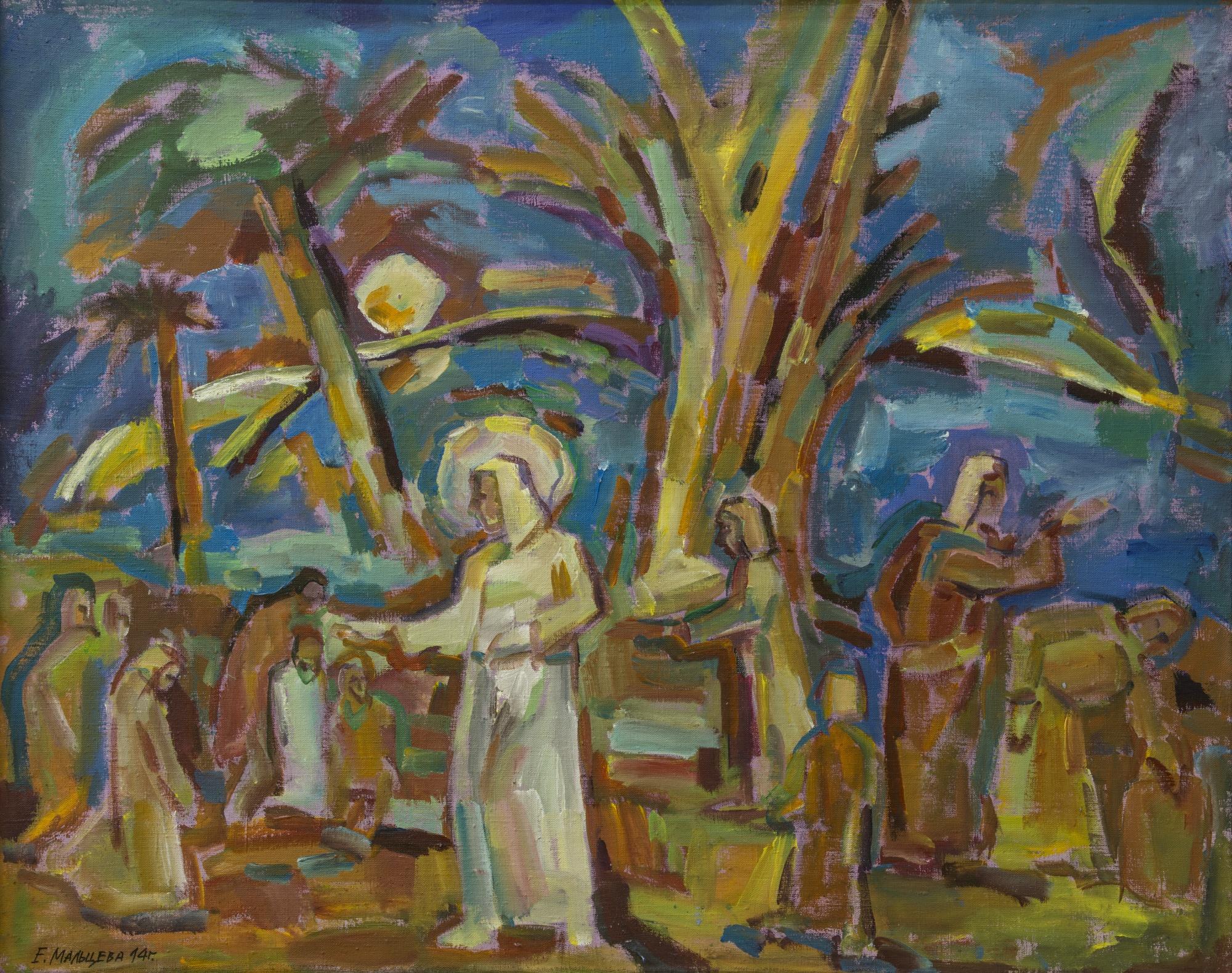 Мальцева Елена. Притчи. Христос. х.,акр. 80х100, 2014г.